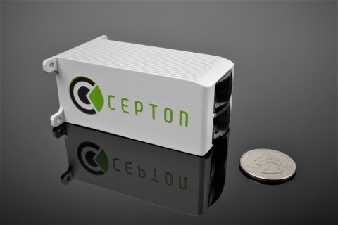 With a lidar target size of 3.5 cm (W) x 3.5 cm (H) x 7.5 cm (D), and weighing less than 350 g, the Nova is extremely compact and easily embeddable for automotive applications. © 2021 Cepton Technologies.