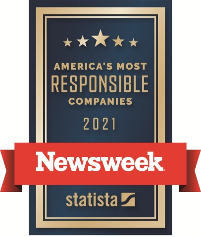 """For the second consecutive year, Ryder has been named by Newsweek to its annual list of """"America's Most Responsible Companies"""" for 2021 recognizing the company's ongoing commitment to corporate social responsibility efforts related to its environment, social, and corporate governance initiatives.(Graphic: Business Wire)"""