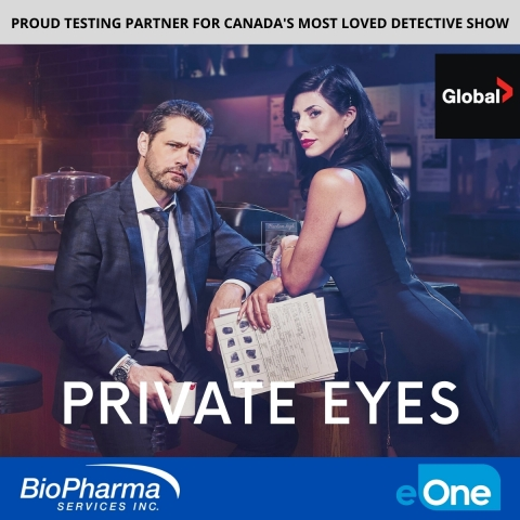 Private Eyes stars Cindy Sampson (as Angie Everett) and Jason Priestley (as Matt Shade). (Graphic: Business Wire)