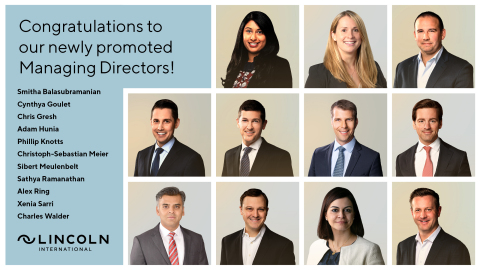 Congratulations to Lincoln International's eleven professionals who have been promoted to the Managing Director level the most in firm history! The new MDs, based in five different countries, are a key part of Lincoln's continued global growth and deepening product and sector coverage across industries. (Photo: Business Wire)