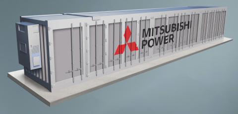 As soluções de armazenamento de energia da Mitsubishi Power utilizam várias tecnologias para atender às necessidades de descarbonização dos clientes. Mostrado: renderização de um sistema de armazenamento de energia de bateria. (Foto: Business Wire)