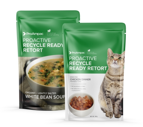 Answering an unmet need: showing recycle-ready retort packaging suitable for human and pet food made with ProAmpac's  RT-3000, a mono material and newest member of the ProActive Sustainability® product family. (Photo: Business Wire)