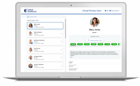 The new UnitedHealthcare Virtual Primary Care service enables eligible members in employer-sponsored plans to visit virtually with health care providers for various types of care, including wellness, routine and chronic condition management. Source: UnitedHealthcare