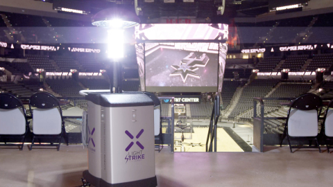 The San Antonio Spurs have deployed Xenex LightStrike Germ-Zapping Robots to quickly disinfect rooms and areas within the AT&T Center. They are the first NBA team to deploy the patented technology, which is proven to deactivate SARS-CoV-2 (the virus that causes COVID-19) in 2 minutes. (Photo: Business Wire)