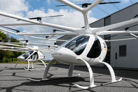 Volocopter 2X (front) in comparison with Volocopter VC200 (back) (Photo: Business Wire)