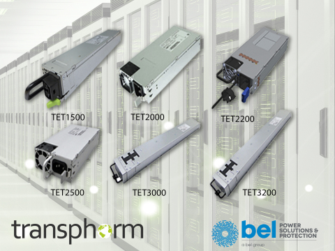 Transphorm's high voltage GaN devices are used in six of Bel Power's AC to DC TET Series power supplies, enabling Titanium efficiency power conversion for data centers. (Graphic: Business Wire)