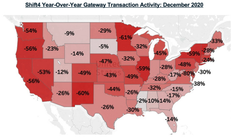 Shift4 Year-Over-Year Gateway Transaction Activity: December 2020 (Graphic: Business Wire)