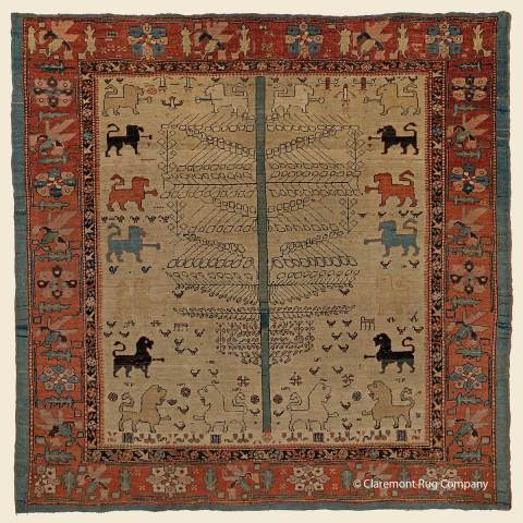 """This Persian Bakshaish """"Lion Rug"""", 5' 11"""" x 5' 10"""", circa 1800, was included in the recently announced 2020 """"Best of their Type"""" listing of antique Oriental rugs sold by Claremont Rug Company in its 10th annual event. (Photo: Business Wire)"""