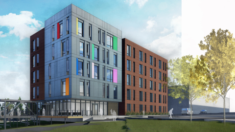 NEW HOME: This artist's rendering shows the current concept for an affordable housing apartment complex in Dallas that is welcoming and affirming for older adults who are members of the LGBTQ community or affected by HIV. CREDIT: Perkins & Will