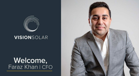 Vision Solar LLC - Faraz Khan, Chief Financial Officer (Photo: Business Wire)