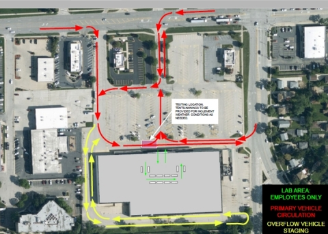 Site plan and proposed traffic pattern for Chicago testing center. (Photo: Business Wire)
