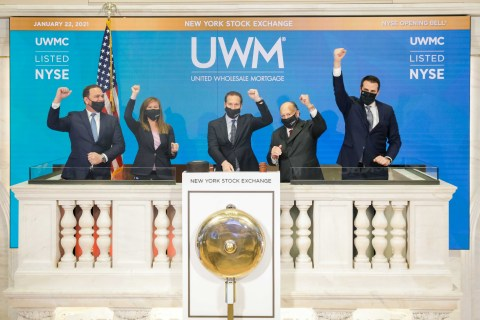 Mat Ishbia along with UWM executives ringing the bell at the NYSE (Photo: Business Wire)