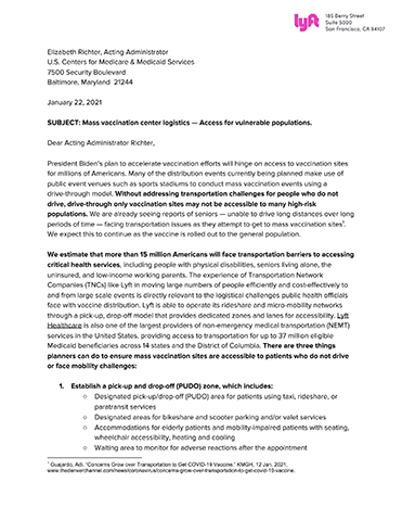 Lyft Letter to CMS