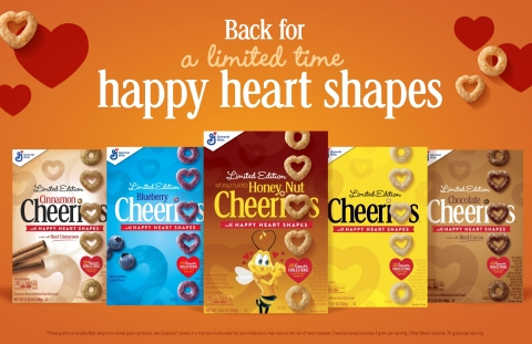 America's number one cereal brand is bringing back happy-heart shapes to Honey Nut Cheerios and original yellow-box Cheerios, along with new additional flavors including Blueberry, Chocolate and Cinnamon starting in late January. (Photo: General Mills)
