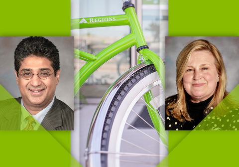 Abbas Merchant, left, joins Regions Bank as chief marketing officer, succeeding Michele Elrod, right, in leading the bank's Corporate Marketing group. (Photo: Business Wire)