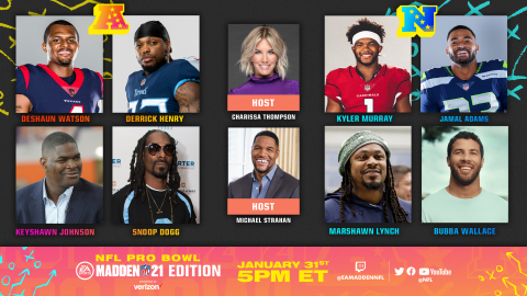 Tune in to the Pro Bowl: Madden NFL 21 Edition presented by Verizon on NFL social channels this Sunday at 5pm EST (Graphic: Business Wire)