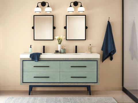 Minwax's Vintage Blue relieves the stark white functionality of a bath for a more mindful shade of clean that gives your vanity more appeal. Couple two blues and go with a gray that's classic to create a cascading form in a room designed for function. (Photo: Business Wire)