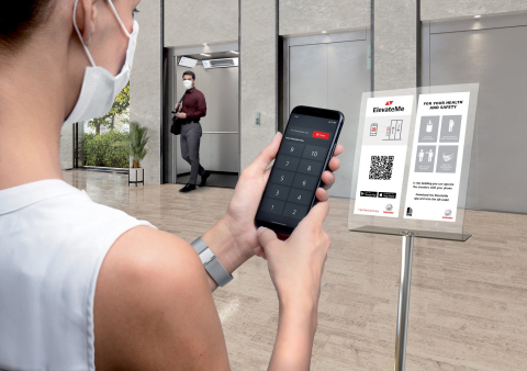 Simply call the elevator and select the destination. ElevateMe the best way to use an elevator without ever having to touch it. Available on both the iOS or Android operating systems and completely intuitive. (Photo: Business Wire)