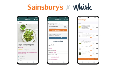 Consumers can now turn any recipe from Whisk's network of publishers, brands, and apps including the UK's largest recipe sites, into a smart shopping list and instantly purchase for click and collect or delivery from Sainsbury's. (Graphic: Business Wire)