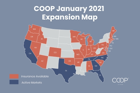 COOP expands insurance program to 34 states, enabling existing customers with large fleets across multiple markets to leverage the platform wherever they operate. (Photo: Business Wire)