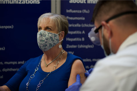 Member in Greenville, South Carolina, Sam's Club receives her first vaccination shot. (Photo: Business Wire)
