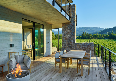 Deck overlooking the vineyards at Alila Napa Valley. (Photo: Business Wire)
