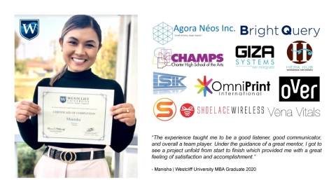 Westcliff University MBA students received certificate of completion in the SMART Capstone Program for consulting with local, global and non-profit companies. (Photo: Business Wire)