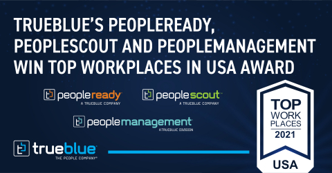 TrueBlue's PeopleReady, PeopleScout and PeopleManagement Win Top Workplaces in USA Award (Graphic: Business Wire)