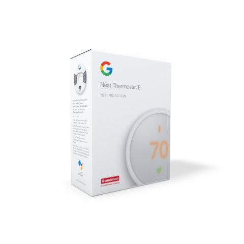 Google and Goodman Manufacturing Company, L.P. have collaborated to launch the Nest Thermostat E + Goodman program designed for Goodman's extensive independent dealer network across the United States.  The new offering from one of North America's largest smart home thermostat brands marks the first time Google has offered a co-branded product and experience with a heating, ventilation and air conditioning (HVAC) manufacturer.   Goodman® brand HVAC dealers now have a unique opportunity to tap into homeowners' mounting demands for home automation – on pace for 31 percent compound annual growth, according to research firm McKinsey & Company.   Google Nest's smart thermostat pairs seamlessly with Goodman's open protocol equipment.  Both HVAC contractors and homeowners will find tremendous value with this Goodman-branded Google Nest thermostat, from service alerts customized with HVAC dealer contact information to a 5-year limited warranty. (Photo: Business Wire)