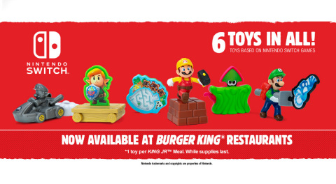 Beginning Feb. 1 and running through March 15, King Jr Meals at participating Burger King locations across the U.S., Canada and parts of Latin America will include one of six different toys inspired by Nintendo Switch games. (Graphic: Busiess Wire)