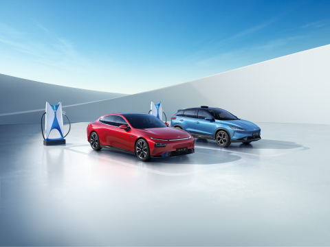 XPeng P7 sedan and G3 SUV (Photo: Business Wire)