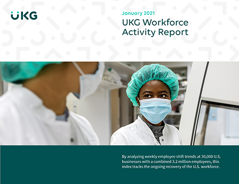 High frequency data detailing the volume of shifts being worked by U.S. employees nationally is down 3% in January, according to the UKG Workforce Activity Report. This is the first time during the pandemic that shift volume declined in back-to-back months. (Photo: Business Wire)