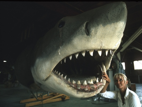 Valerie with 'Bruce' the mechanical Great White during the filming of JAWS. (Ron and Valerie Taylor)
