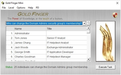 "Gold Finger Mini is the world's most capable and powerful Active Directory Privileged Access Audit Tool.  It can instantly find out exactly who has the most powerful privileged access, including the ""Keys to the Kingdom"" within the foundational Active Directory deployments of 85% of all organizations worldwide. (Graphic: Business Wire)"