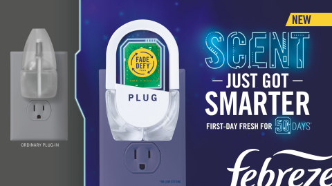 The NEW Febreze Fade Defy PLUG(TM) is the first-ever plug-in air freshener with built-in microchip smart technology that is programmed to digitally manage temperatures to control how much scent is released to smell first-day fresh for 50 days (on low). (Photo: Business Wire)