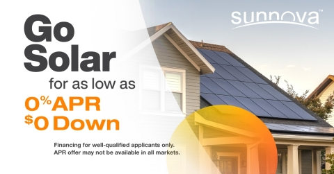 0% APR financing for home solar and battery storage service with 25-year system protection (Graphic: Business Wire)