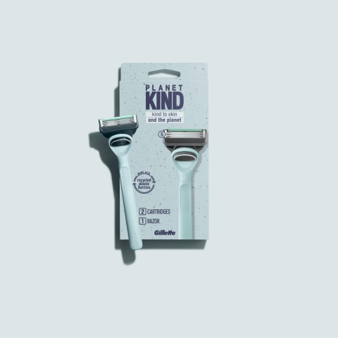 The Planet KIND durable razor handle is made to last with 60% recycled plastic (made with rPET, like water bottle plastic), which can be used for years. (Photo: Business Wire)