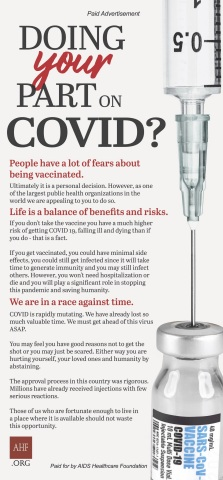 """AHF will run a newspaper ad posing the question: """"Doing Your Part on COVID?"""" The campaign kicks off with a full-page color ad with that question as the headline running in the Los Angeles Times Sunday, February 7, 2021. (Graphic: Businesss Wire)"""