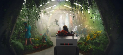 """Fiverr's Super Bowl ad spot """"Opportunity Knocks"""" features Four Seasons Total Landscaping owner and President Marie Siravo as she travels through a world of possibility. (Photo: Business Wire)"""