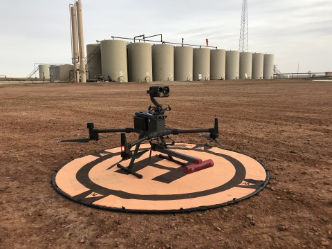 A drone fitted with the SeekOps SeekIR® sensor ready to deliver a fugitive emissions detection service. (Photo: Business Wire)