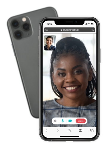 Olivia can invite candidates to join a quick video chat with a simple link, right in the event conversation. No usernames or passwords needed. (Photo: Business Wire)