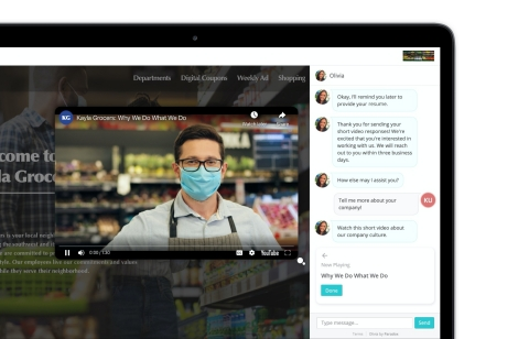 Olivia's video enhancements enable companies to tell dynamic brand stories for candidates within a conversation. (Photo: Business Wire)
