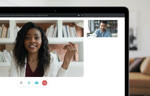 Olivia's video enhancements can launch real-time video interviews on any device. Hiring teams don't need to manually send video links, Olivia automatically includes video links when she schedules and sends the calendar invite. (Photo: Business Wire)
