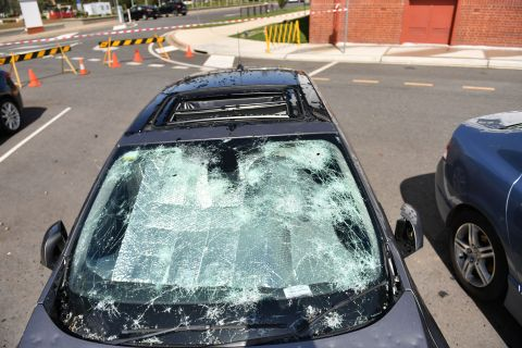 A hailstorm in Canberra, Australia, caused significant damage to cars in January of 2020, yet SELC's smart lighting control modules atop battered streetlights continued to operate. (Photo: Business Wire)