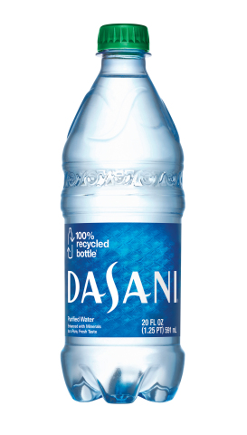 New 20oz Dasani bottle made from 100% recycled plastic material available in select markets this spring (does not include the bottle's cap and label) (Photo: Business Wire)