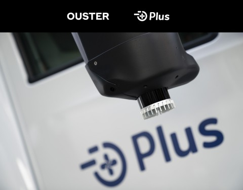 An Ouster lidar sensor on a Plus truck. (Photo: Business Wire)