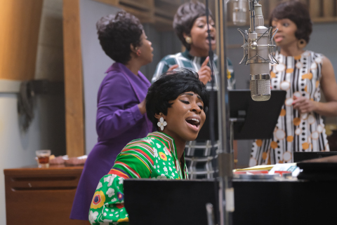 Aretha Franklin, played by Cynthia Erivo (foreground), rehearsing with backup singers played by (background L to R) Kameelah Williams, Patrice Covington (as Erma Franklin) and Erika Jerry, in National Geographic's GENIUS: ARETHA. (Credit: National Geographic/Richard DuCree)