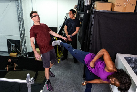 CA - Actress and Stuntwoman, Janeshia Adams-Ginyard (front right), gives Bobby Bones (front left) a lesson in stunt training including fighting and falling. (Credit: National Geographic/Karen Ballard)