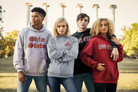 Under a six-year agreement, HanesBrands will deliver an assortment of Ohio State-branded men's, women's, youth and infant/toddler fan apparel across the mass, mid-tier, and campus retail channels. (Photo: Business Wire)