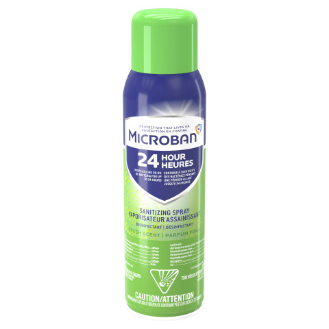 Microban 24 Sanitizing Spray is approved to kill SARS-CoV-2, the virus that causes COVID-19. (Photo: Business Wire)